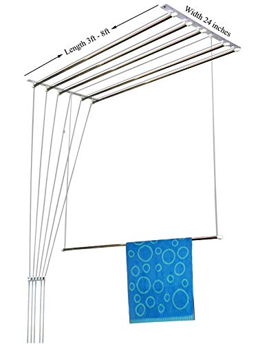 RAINBOW DRYWELL 6 Pipes Luxury Stainless Steel Cloth Dryer (8 Feet, Silver and Black) at amazon