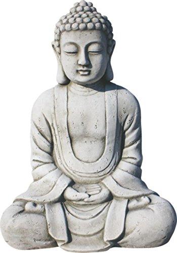 AnaParra Estatua Buda Tissa del Éxito Figura Decorativa para Jardín o Exterior Hecho de Piedra Artificial | Figura Buda 38 cm, Color Natural Musgo