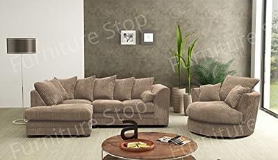Dylan Corner Sofa & Swivel Chair in Full Jumbo Cord (Grey, Coffee, Black, Chocolate) from Dylan