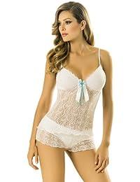 Adriana Arango Conjunto de 2 piezas Sexy pijama mujer ver a través de blusa corto #