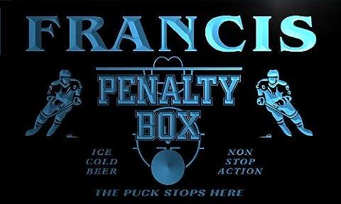 qt1385-b FRANCIS Ice Hockey Penalty Box Puck Bar Beer Neon Light Sign