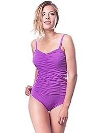 Shepa Badeanzug mit Raffungen Softcups-Modell Schwimmanzug Badekostüm Blickdicht / Made in EU