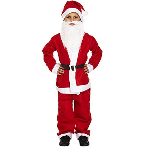 UNISEX KINDER WEIHNACHTEN KOSTÜM SANTA KOMPLETTER ANZUG MIT BART KOSTÜM 4-12 JAHRE - Weihnachtsmann, 134 (M) (Kinder Santa Anzug)