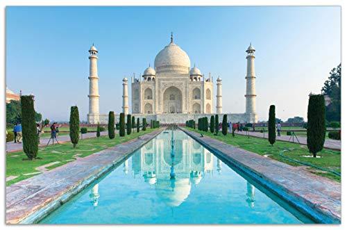 Wallario Herdabdeckplatte/Spritzschutz aus Glas, 1-teilig, 80x52cm, für Ceran- und Induktionsherde, Motiv Taj Mahal - Mausoleum in Indien