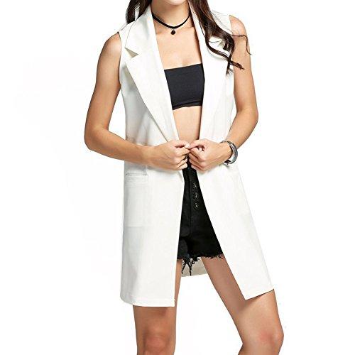 Juleya Mujer Front Open sin mangas de largo Duster Coat Blazer Chaleco blanca S