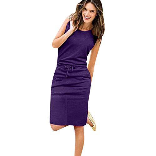 Elegante Kleider Damen Kleid Cocktailkleider Ronamick Damen Urlaub ärmellose Sommerkleid Damen Sommer Beach Party Freizeitkleidung(XL, Lila) -