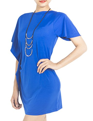 iB-iP Femme Tight Half Sleeve Cap Slim Clubwear Soirée Mini Robe Moulante Royal