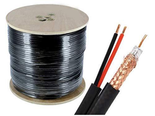 100m RG59 Kombi Koaxialkabel/Strom + Video Kabel für Videoüberwachung Überwachungskamera 0.81mm 75 Ohm -