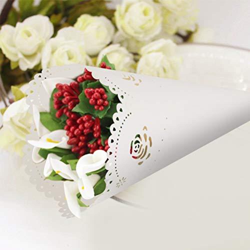 WOWOSS 100 Stück Konusförmige Rose Tüte für Konfetti, aus weißem Papier mit Spitze, in Packung , für Hochzeit, Feierlichkeiten, Taufe