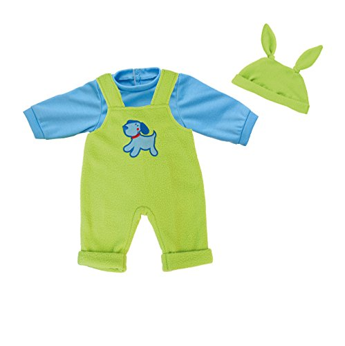 bayer-38cm-deluxe-dress-set-t-shirt-and-overalls-dog-design-green-blue