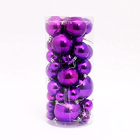 Kolylong 36PC multicolor Christmas 6cm Plastic Christmas Tree Decoration Ball (Purple)