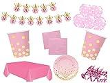 XXL Party Deko Set Geburtstag Kindergeburtstag 53 teilig 12 Personen rosa/gold gepunktet Party Geschirr Party Deko