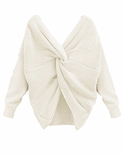 BONESUN Damen Sexy Oversized V-Ausschnitt Lange Ärmel Knit Sweater Casual Stricken Pullover Weiß DE 34 (Ärmel Lange Weiße Stricken)