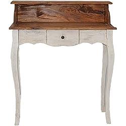 Estilo francés secretario mesa tocador de madera de roble blanco Vintage Retro