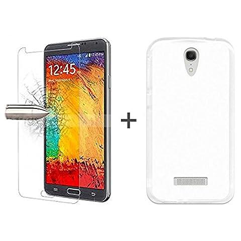 TBOC® Pack: Coque Gel TPU Transparent + Protecteur d'écran en Verre Trempé pour Vodafone Smart 4 Power - Silicone Souple Ultra Mince Étui Housse. Protecteur d'écran résistant aux chocs, aux rayures et à l'abrasion.