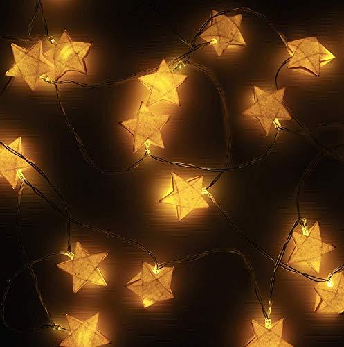 West Festlichkeit Gelb Papier Origami Dekorative Stern Lichterketten; 2 Meter Batteriebetriebene 20 LED-Schnur-Licht mit handgemachtem Popstar -