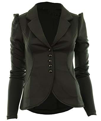 schwarz 8-36 Mardela Frauen 5 Knöpfe vorne versammelten Schulter Damen Blazer Jacke