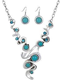 Yazilind Hohl Tibetischen Silber Grün Rimous ovale Türkis-Schellfisch  -Kragen Ohrringe Halskette Schmuck- 14dcb1c679
