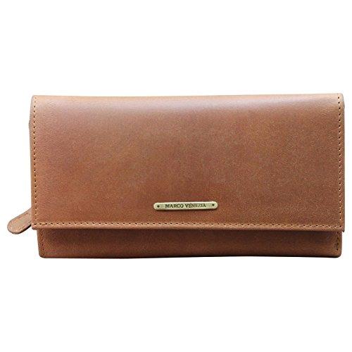 Marco Venezia Leder Damen portemonnee portemonnee portemonnee, Farbe:Cognac -