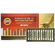 KOH-I-NOOR–Tizas Box–Juego de 12marrón tonos redondas suave tizas pastel blandas Colores Surtidos