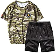 GH Mens Jogging Suits Camouflage Plus Size Short Sleeve Quick Drying Tracksuit Set