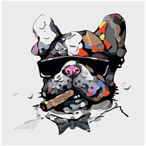 NDSLJSLYH Digitale Malerei Sonnenbrille Hund, 120X160Cm DIY Werkzeugsatz Student Kinder Erwachsenen Handgemalte Ölgemälde Wanddekoration