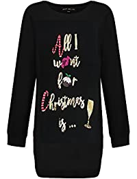 Womens Ladies Novelty Prosecco Christmas Pudding Sequin Tunic Xmas Top Jumper