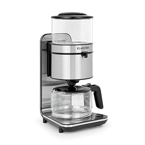 Klarstein Soulmate Kaffeemaschine • Filter-Kaffeemaschine • 1800 Watt • 1,25 Liter • 4 bis 10 Tassen • Schwallbrühverfahren • Glas • Edelstahl • Silber