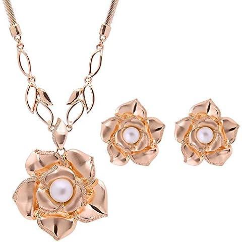 Oro rosa placcato argento zirconi CZ collana e orecchini Set , rose gold /61152222