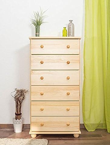 Dresser solid, natural pine wood Junco 135 - Dimensions 118