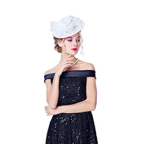TOBEEY Kopfschmuck Hüte für Frauen Mädchen Französischer Sinamay hat Damen Pillbox Tea Party Kirche hat Zubehör