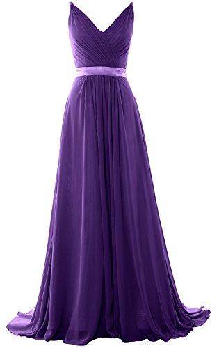 MACloth Women V Neck Mid Open Back Long Bridesmaid Dress Formal Evening Gown Violett