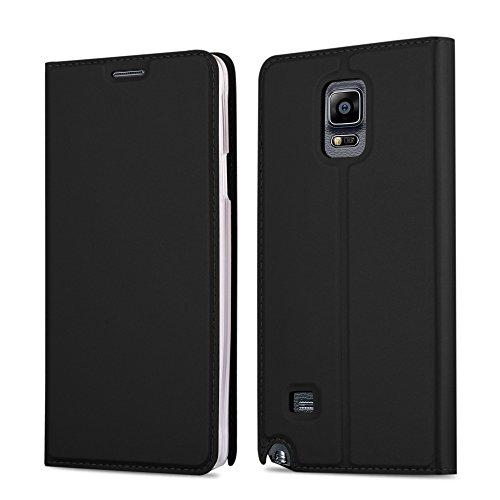 Samsung Galaxy NOTE 4 Hülle in SCHWARZ von Cadorabo - Handy-Hülle im Metallic Look mit unsichtbarem Magnet-verschluss und Karten-Fach Case Cover Schutz-hülle Etui Tasche Book Klapp Style (Samsung Note 4 Flip Case S-view)