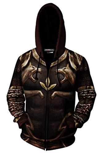 Kostüm Kratos - MingoTor Herren Damen für Kratos Armor God of War 2 Kapuzenjacke 3D Pullover mit Kapuze Sweatjacke Hoodie Cosplay Kostüm Unisex
