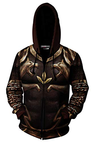 Kratos Kostüm Cosplay - MingoTor Herren Damen für Kratos Armor God of War 2 Kapuzenjacke 3D Pullover mit Kapuze Sweatjacke Hoodie Cosplay Kostüm Unisex