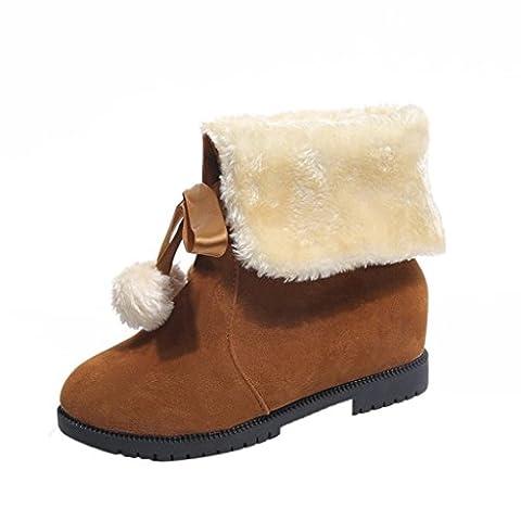 Paolian Femmes Fille Poils Bottes De Neige Fashion Hiver Bottines Chaussures Bottes (34 EU, Brown)