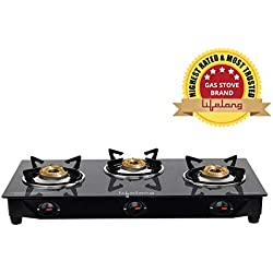 Lifelong Glass Top Gas Stove, 3 Burner Gas Stove, Black