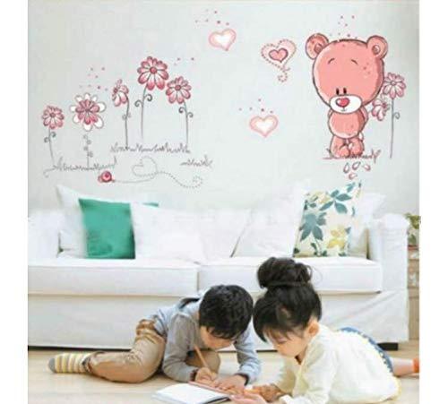 Wandaufkleber Cartoon Teddy Bear Flower Sticker For Baby Girls Kids Rooms Home Decor Teddy Bear Umbrella Classroom Wall Decals (Bear Flower Girl Teddy)
