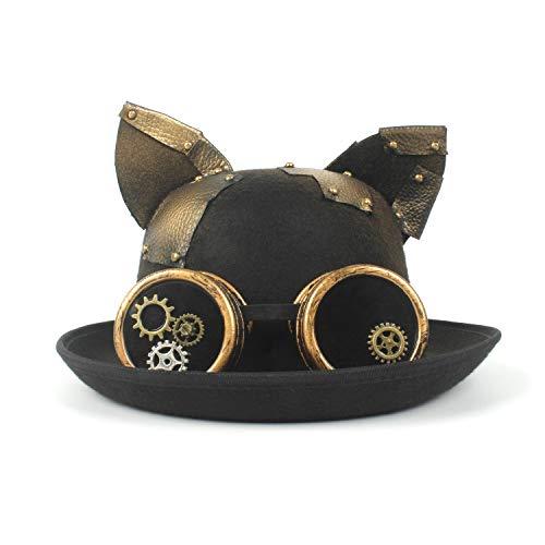 Noodei Mode Hut Lady Bowler Hat Vintage Steampunk Gear Brille Schwarze Katze Ohr Hut (Farbe : Schwarz, Größe : 56-58CM)