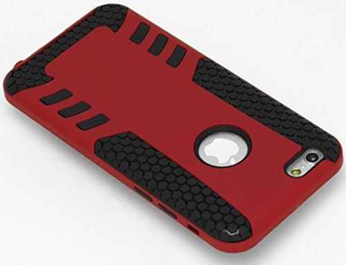Bastex Heavy Duty Honeycomb Design Silikon Schutzhülle mit gummierten Rib Hartschale für Apple iPhone 6, 11,9cm rot