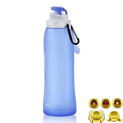 Tigèr 500ml BPA Free Silicone Foldable Sport Water Bottle Reusable For Walking Riding Joggers Picnics Hiking Camping by 17fl - Blue x