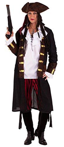 Karneval-Klamotten Piraten-Kostüm Herren Kostüm Pirat Kapitän Komplett-Kostüm Piraten-Mantel Herren inkl. Hose Piraten-Hut Abenteuer Damenkostüm Größe 40/42 (Kostüm Mantel Piraten)