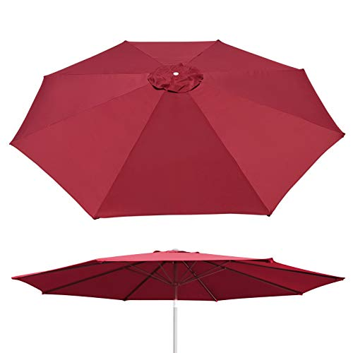 Cover Von Umbrella (BenefitUSA Umbrella Cover Canopy 10ft 8 Rib Patio Replacement Top Outdoor-Burgundy)