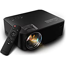Video Proyector 1080P HD, GooBang Doo T20 Multimedia Portátil Mini Entretenimiento en Casa LED LCD Proyector 1500 Lúmenes 800x480p Apoyar PC Laptop PS4 XBOX DVD y Android TV Box etc, Negro
