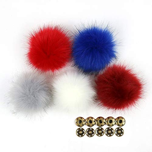 iSuperb 5pcs Bommel Kunstpelz Ball DIY Faux Pelz Pompom Ball Fuchs Fluffy Ball Nachahmung Haar Ball für Hüte Mützen Schuhe Schals Tasche Charms Zubehör - Faux-pelz-schal Braun