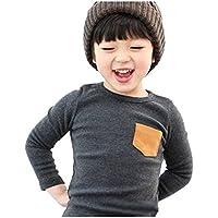 Weixinbuy Niño del Cabrito del Algodón Bolsillo Suéter de Manga Larga Top de La Camisa Gris