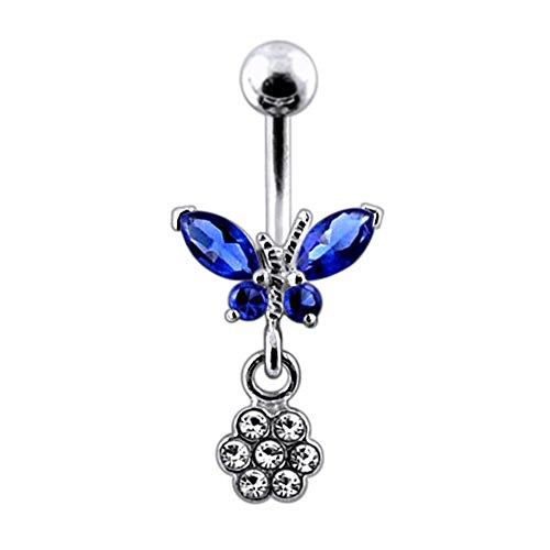 Bijou de corps anneau de nombril motif Papillon à pierre avec Fleur pendante en Argent Sterling 925 Dark Blue