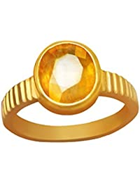 5.75 Crt.-6.25 Ratti Natural Certified Yellow Sapphire Pukhraj Gemstone Panchdhatu Ring, Pukhraj Birthstone Astrology Ring