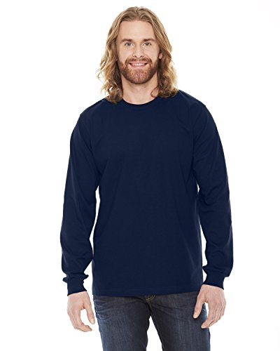 American Apparel Unisex Fine Jersey Long Sleeve T-Shirt - Navy / L -
