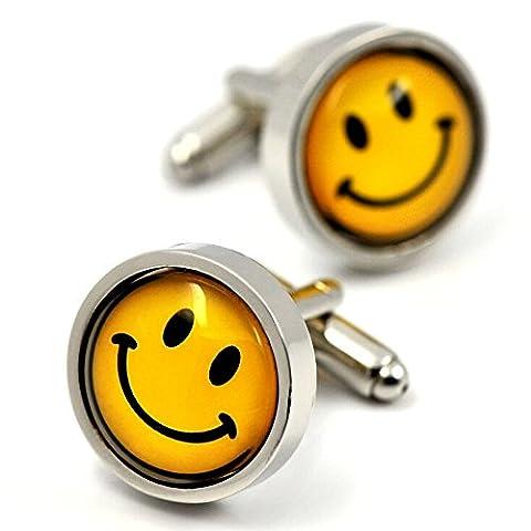 MFYS Smile Face Cufflinks Personalized Mens Cufflinks Custom Cuff links with Cufflink Box